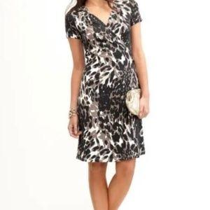 Banana Republic Animal Print Wrap Dress XS